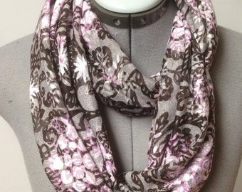 Gray and Purple Floral Print Burnout Infinity Scarf