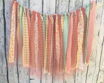 Mint, Pink and Gold fabric bunting
