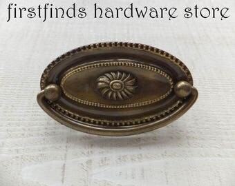 9 Drawer Pulls Furniture Handles Back Plates Cabinet Metal Swing Brass Cupboard Dresser Reproduction Duncan Phyfe 3inch ITEM DETAILS BELOW