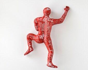Climbing Figure, metal wall art, Unique gift, modern sculpture, wall hanging, Metal art, Sports decor, red