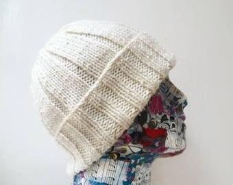 Men Cream Watch Cap - Hand Knit Hat - Hand Knitted Watchman Cap - Men Cream Acrylic Beanie Hat -  Men Watch Cap - ClickClackKnits