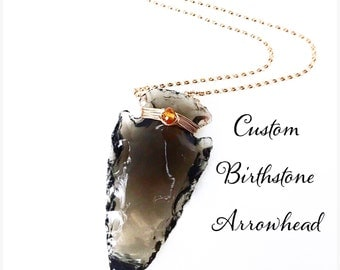 Birthstone Obsidian Arrowhead Necklace / Bohemian Jewelry / Raw Gemstone Jewelry / Gold Black Arrowhead Necklace / Sterling Silver Rose Gold