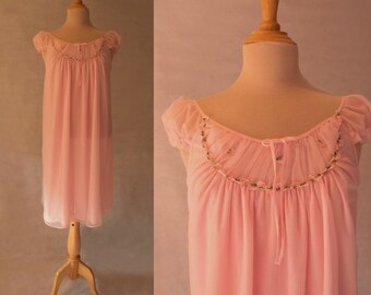Pink Nightgown with Floral Appliques -1960s