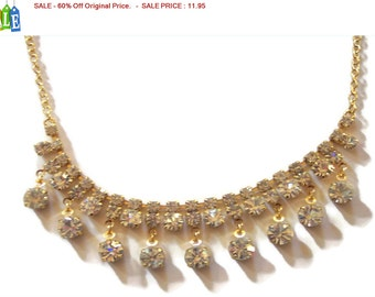 SALE - 60% Off Original Price.   Vintage Estate Gold Tone Dangle Rhinestone Necklace