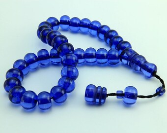 Blue color 33 pcs Islamic Prayer Beads Misbaha Rosary Tesbih worry 401035