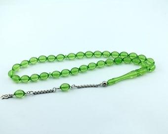 Green color 33 pcs Islamic Prayer Beads Misbaha Rosary Tesbih worry 401058