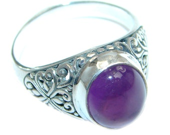Amethyst Sterling Silver Ring - weight 5.50g - Size 10 - dim 1 2 inch - code 18-sty-17-75