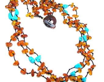 Amber, Turquoise Sterling Silver Necklace - weight 20.00g - code 2-cze-16-30