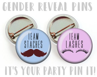 Gender Reveal Party Favors 1 inch Pinback Buttons or 1 inch Flatback Button Hallow back Magnet Pink and Blue Team Staches Team Lashes