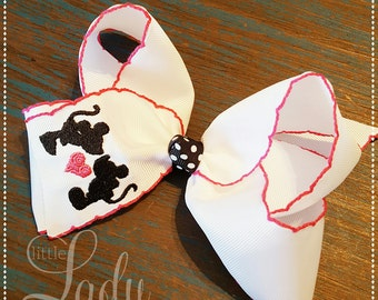 Minnie and mickey love hair-bow-monogrammed hair-bow-moonstitch hair-bow-minnie hair-bow-mickey mouse hair-bow-valentines hair-bow---