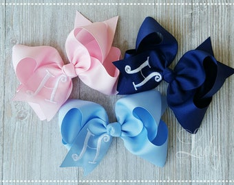 Monogrammed hair bow-single letter monogram-you choose your size bow-many colors to choose from-bows for girls-- personalized hair bows-bows