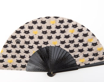 FOLDING HAND FAN | Feline animal print | black cats | fashion accessories | unique gift for her | limited edition | Free Shipping Worldwide