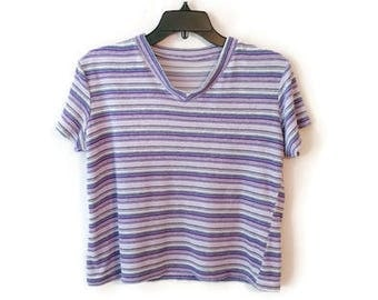 Vintage Terry Cloth Top shirt striped stripes purple size M/L