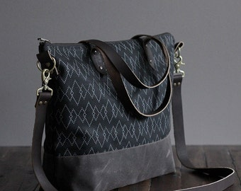 """Waxed Canvas Screen Print Crossbody Tote Bag with Leather Straps - """"Canyon"""" Black/Brown"""