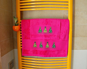 Christmas,cross stitch,towel,bathroom, home,handmade, decoration, Fuchsia,trees, gift,made in Italy, cotton thread, DMC thread, washable