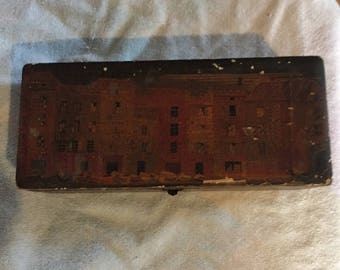 Vintage tongue and groove Wood Box venice scene old box