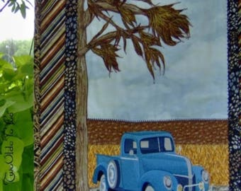 BLUE VINTAGE PICKUP Quilted Wall Hanging Country Home Decor Man Cave Gift Item