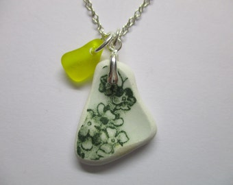 GENUINE BEACH POTTERY Necklace Sterling Silver Green White Floral Pattern Shard Yellow Sea Glass Real Surf Tumbled Seaglass Jewelry  N 718a