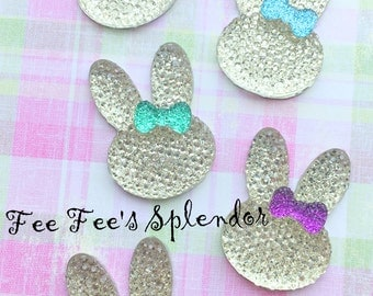 5 pc set- Bunny Rhinestone w/bow-  resin- cabochon- Flat back resin *Hair bow center*-Easter Bunny- Customize bow color