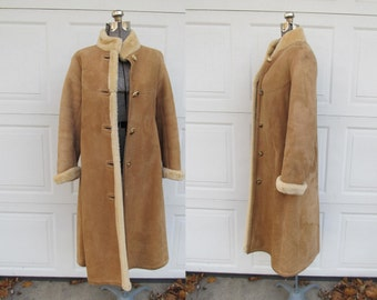 1970s suede and sherpa long coat