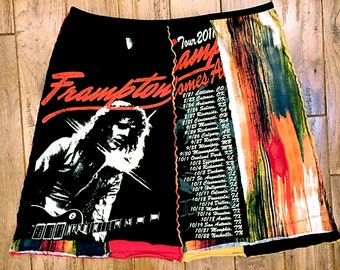 "Upcycled ""Peter Frampton"" tshirt skirt, Women's upcycled clothing, rock band skirts, funky upcycled skirt, recycled tshirt skirt, repurposed"