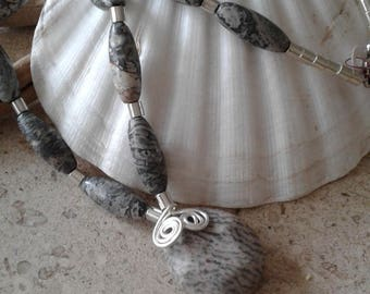 Natural Stone Necklace, Grey/Pink Stones, Silver Wired Pendant Necklace