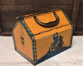 Rare Antique Lunch Box Style Toffee Tin, c 1930 Horner Blue Boy Toffee Tin, Orange and Blue Lunchbox, Vintage Candy Tin Box