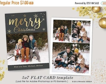 ON SALE Christmas Card Template, 7x5 in Holiday Card Adobe Photoshop psd Template, sku xm16-3
