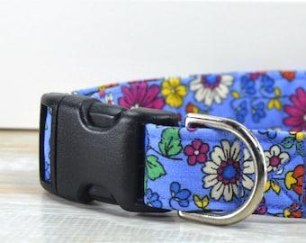 Cornflower Blue Dog Collar, Floral Print Dog Collar, Adjustable Dog Collar, Dog Neckwear, Fabric Dog Collar, Large Dog Collar, Small Dog