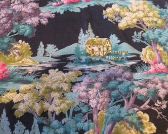 Vintage Bark Cloth Cafe/Valance Curtains/Abstract/Home Trees/Hand Stitched/Purple, Blue, Green, Yellow, Black