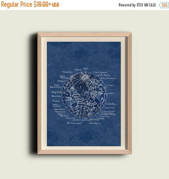SALE Map of the Moon  Lunar Surface Astronomy Print  Recovered Vintage Image to Frame