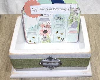 RECIPE BOX, Recipe Dividers, 4 x 6 Recipe Cards, Distressed White Box, White Recipe Box, Rustic Box, Mason Jar, Mint Green, Coral Dividers