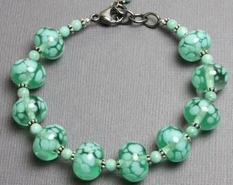 Lampwork Bracelet, Green Lampwork Bracelet, Green Beaded Bracelet, Lampwork and Amazonite Bracelet, Colorful Bracelet, Kathy Bankston