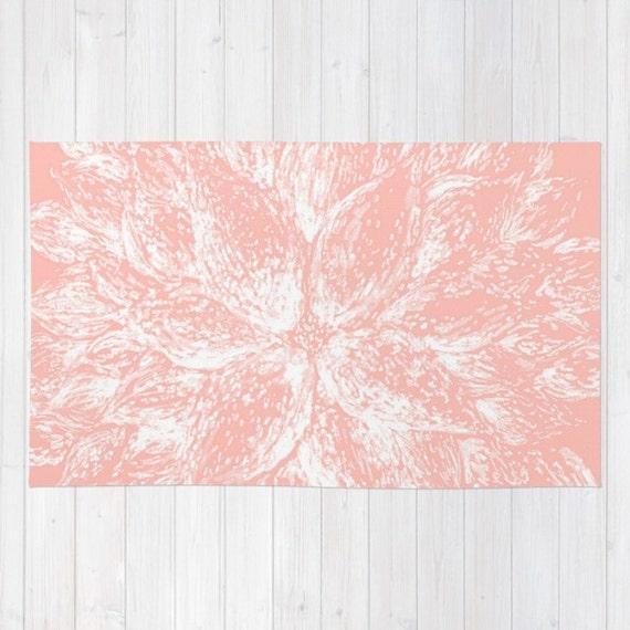 Light Pink Flower Area Rug Light Pink Rug Pastel Pink Rug
