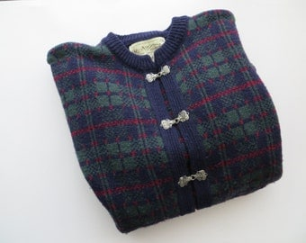 60s Nor'Easterly Tradition Cardigan Navy PLAID Pure New Wool Made in Scotland Women's US Size Medium