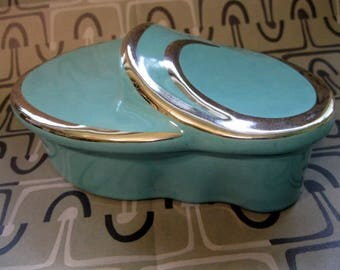 Dresser, Trinket, Jewelry Box, Aqua and Silver, Ceramic, Curvilinear, 1950's Ever-Art California