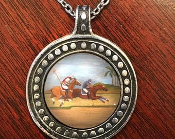Polo pendant, miniature painting on beaded pewter pendant