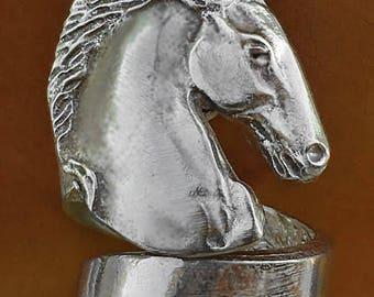 Friesian Stallion Horse Ring in Pewter