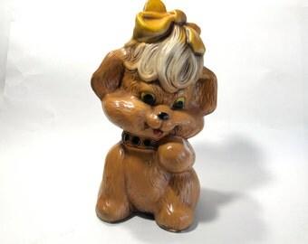Vintage Chalk Ware Dog Puppy Statue Figure Door Stop