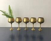 vintage brass goblets wine glasses planters boho decor