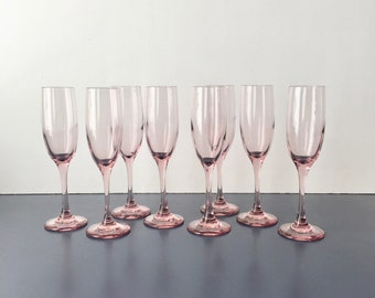 vintage pink champagne flutes Libbey set of 8 glam barware barcart accessory