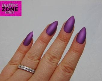 Hand Painted Press On False Nails, Metallic Matte Purple, Long Length Stiletto