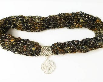Metallic ladder yarn necklace, scarf necklace, trellis yarn necklace, knitted necklace, accessorize scarves, yarn necklace, sparkly scarf,