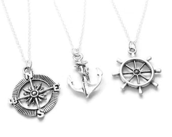 3 Anchor, Compass, Rudder Best Friend Necklaces BFF