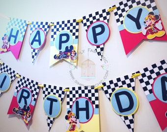 Mickey Roadster Racer Birthday Banner / mickey racing  Banner / Mickey Mouse Party Banner