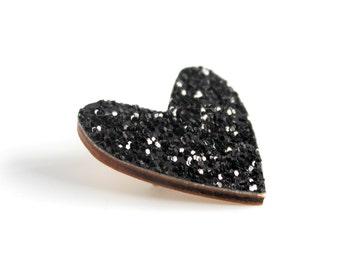 Black Glitter Heart Pin, Glitter Heart Brooch, Wooden Love Heart Brooch Pin, Valentines Pin