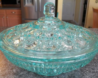 Vintage Indiana Glass~TEAL Blue~Confections~WINDSOR CANDY Box~Bowl w/Lid Large