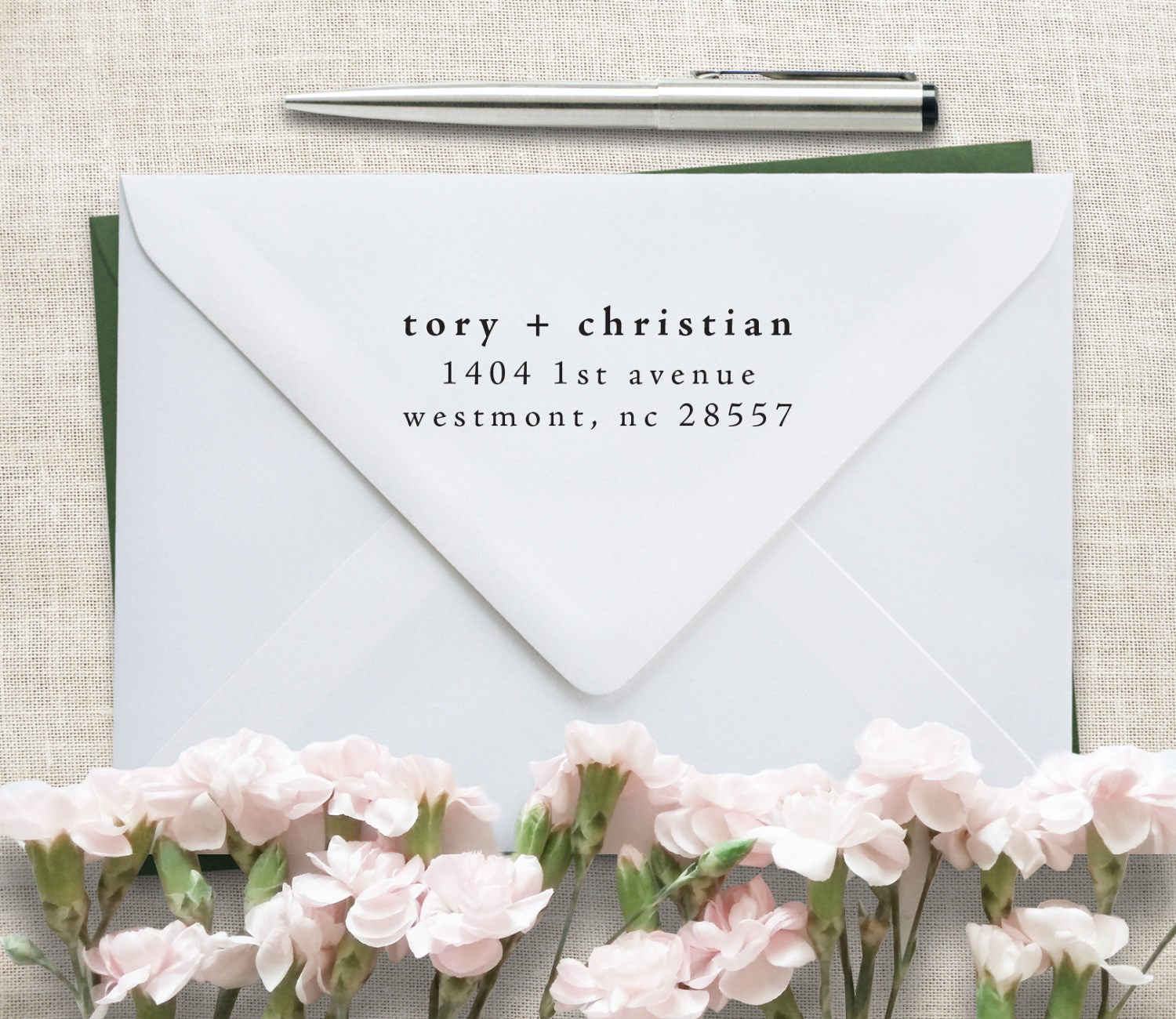 Classic return address stamp wedding invitation stamp for Classic housewarming gifts