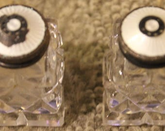 Vintage Glass Salt and Pepper Shakers w/ White Enamel Lids