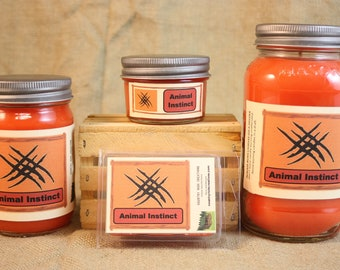 Animal Instinct Scented Candle, Animal Instinct Scented Wax Tarts, 26 oz, 12 oz, 4 oz Jar Candles or 3.5 Clam Shell Wax Melts